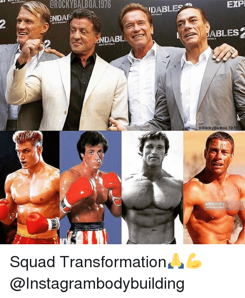 Memes, Squad, and 🤖: QROCKYBALBOA 1976  DABLES  EXP  NDA  NDABL  ABLES  @RockyBalboa.1976  gettymages Squad Transformation🙏💪@Instagrambodybuilding