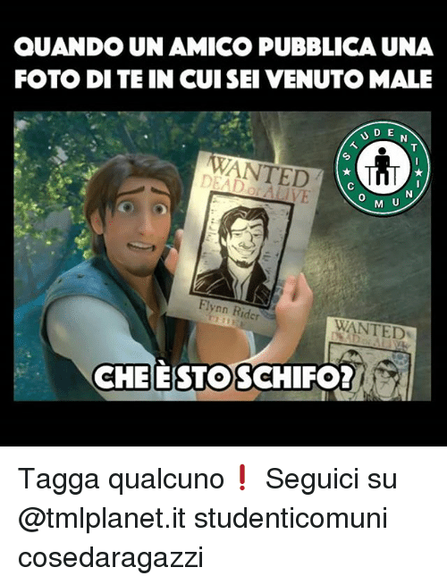 Memes, 🤖, and Wanted: QUANDO UN AMICO PUBBLICA UNA  FOTO DI TE IN CUISEI VENUTO MALE  WANTED  0  M U  Flynn Rider  WANTED  CHEESTOSC  HIFO Tagga qualcuno❗ Seguici su @tmlplanet.it studenticomuni cosedaragazzi