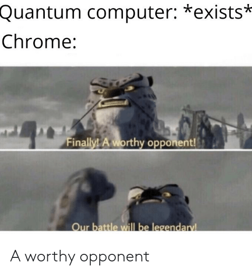 Chrome, Computer, and Quantum: Quantum computer: *exists*  Chrome:  Finally! A worthy opponent!  Our battle will be legendaryl A worthy opponent