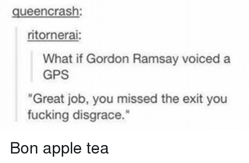 """Apple, Fucking, and Gordon Ramsay: queen crash  ritornerai:  What if Gordon Ramsay voiced a  GPS  """"Great job, you missed the exit you  fucking disgrace."""" Bon apple tea"""