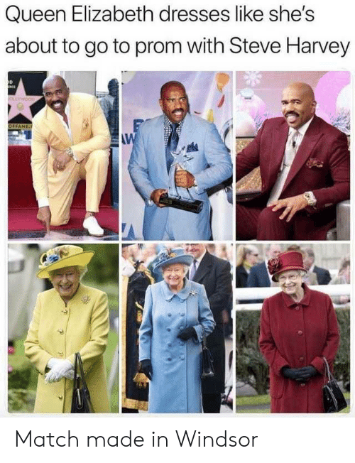 Queen Elizabeth, Steve Harvey, and Queen: Queen Elizabeth dresses like she's  about to go to prom with Steve Harvey  D  OFFAME  AW Match made in Windsor
