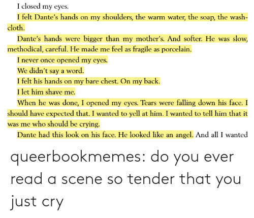 Target, Tumblr, and Blog: queerbookmemes:  do you ever read a scene so tender that you just cry