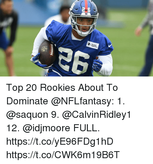 Memes, Quest, and 🤖: Quest Top 20 Rookies About To Dominate @NFLfantasy:  1. @saquon 9. @CalvinRidley1 12. @idjmoore  FULL. https://t.co/yE96FDg1hD https://t.co/CWK6m19B6T