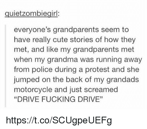 "Cute, Fucking, and Grandma: quietzombiegirl:  everyone's grandparents seem to  have really cute stories of how they  met, and like my grandparents met  when my grandma was running away  from police during a protest and she  jumped on the back of my grandads  motorcycle and just screamed  ""DRIVE FUCKING DRIVE""  03 https://t.co/SCUgpeUEFg"