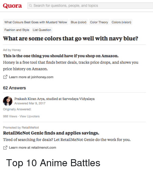 quora search for questions people and topics what colours best goes