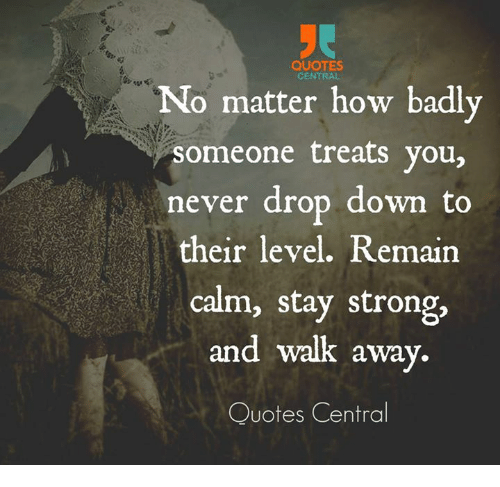 Quotes Central No Matter How Badly Someone Treats You Never Drop