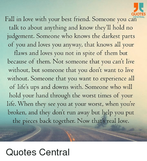 Fall In Love Quotes Amazing QUOTES Fall In Love With Your Best Friend Someone You CENTRAL Can
