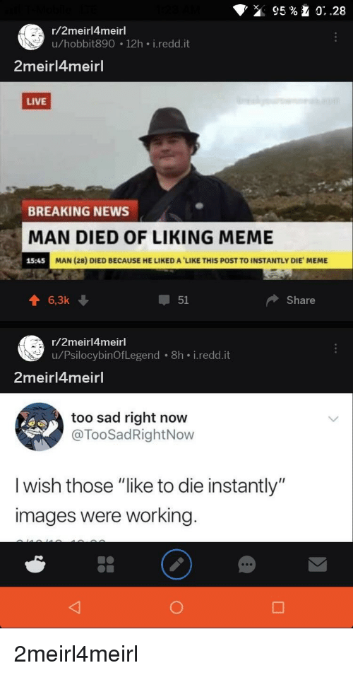 R2meirl4meirl Uhobbit890 12h Ireddit 2meirl4meirl LIVE BREAKING NEWS MAN  DIED OF LIKING MEME 1545 MAN 28 DIED BECAUSE HE LIKED a  LIKE THIS POST TO  ... 653dbfd64993