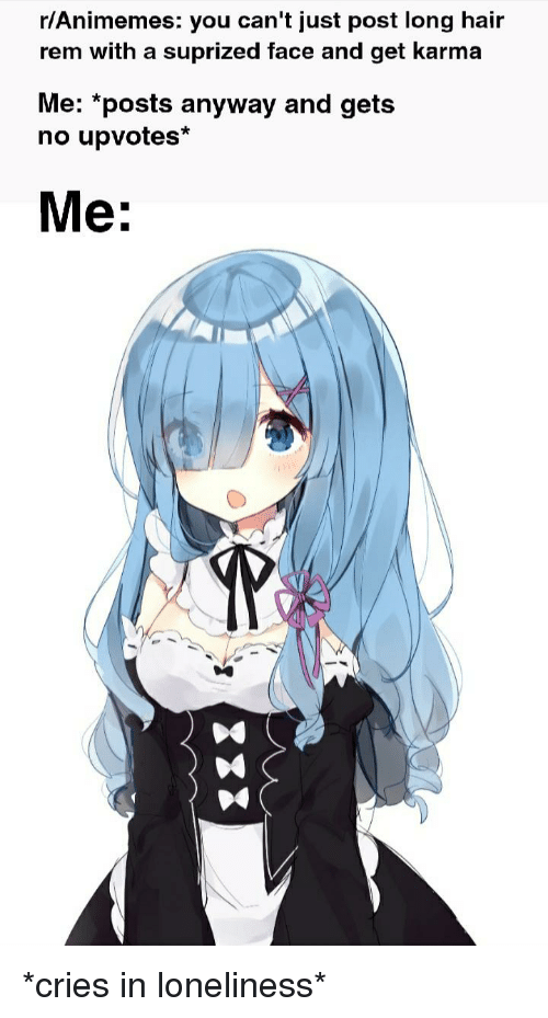 Ranimemes You Can T Just Post Long Hair Rem With A Suprized Face And