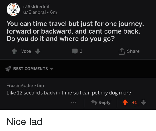 rAskReddit uElanoral 6m You Can Time Travel but Just for One