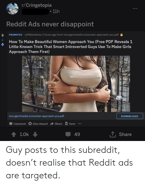 rCringetopia 11h Reddit Ads Never Disappoint PROMOTED