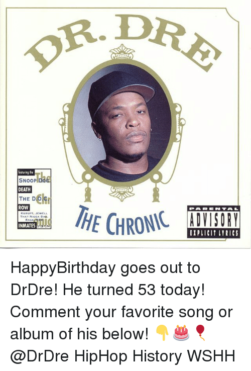 Kurupt, Memes, and Snoop: R. D  featuring the  SNOOP DOG  DEATH  THE D  ROW  PARN TAL  KURUPT. JEWELL  THAT NIGGA DA.  EIPLICIT LYRICS HappyBirthday goes out to DrDre! He turned 53 today! Comment your favorite song or album of his below! 👇🎂🎈 @DrDre HipHop History WSHH