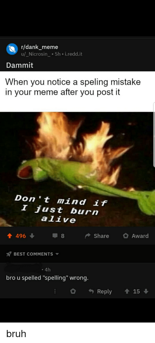 """Alive, Bruh, and Dank: r/dank_meme  u/_Nicrosin 5h i.redd.it  Dammit  When you notice a speling mistake  in your meme after you post it  Don 't mind if  I just burn  alive  Share Award  BEST COMMENTS  . 4h  bro u spelled """"spelling"""" wrong.  O Reply ↑ 15"""