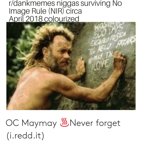 Image, April, and Redd: r/dankmemes niggas surviving No  Image Rule (NIR) circa  April 2018 colourized  Rs OC Maymay ♨Never forget (i.redd.it)