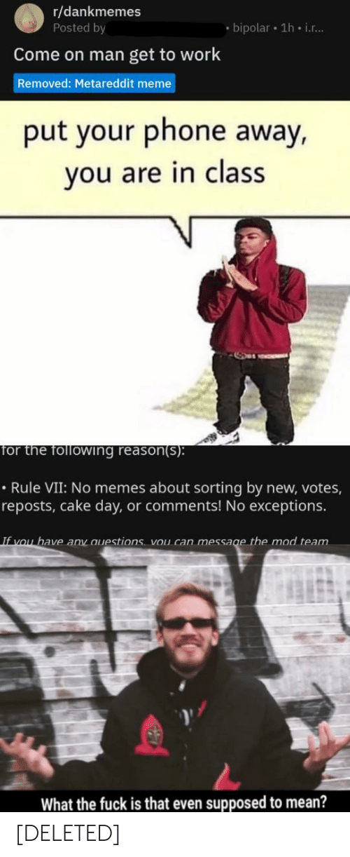 Meme, Memes, and Phone: r/dankmemes  Posted by  bipolar 1h i...  Come on man get to work  Removed: Metareddit meme  put your phone away,  you are in class  for the following reason(s):  Rule VII: No memes about sorting by new, votes  reposts, cake day, or comments! No exceptions.  If you have any auestions vou can message the mod team  What the fuck is that even supposed to mean? [DELETED]