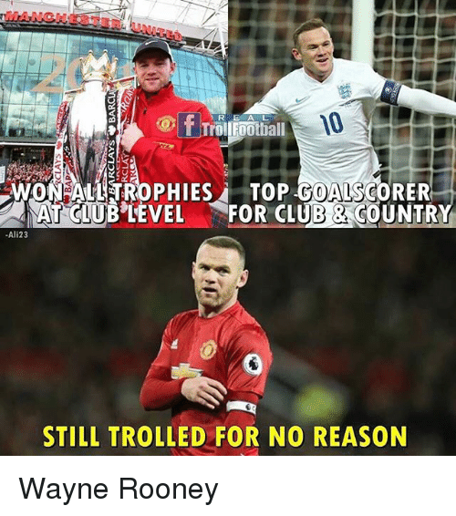 Club, Memes, and Reason: R E A L  WON ALL TROPHIES i TOP A  CORER  CLUB LEVEL FOR CLUB 2 COUNTR  Ali23  STILL TROLLED FOR NO REASON Wayne Rooney