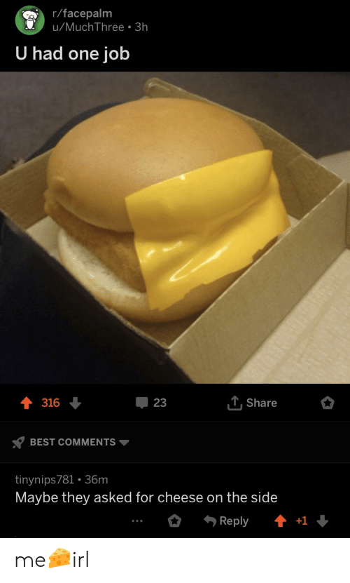 Facepalm, Best, and Irl: r/facepalm  u/MuchThree.3h  U had one job  316  23  T.Share  BEST COMMENTS  tinynips781 36m  Maybe they asked for cheese on the side me🧀irl