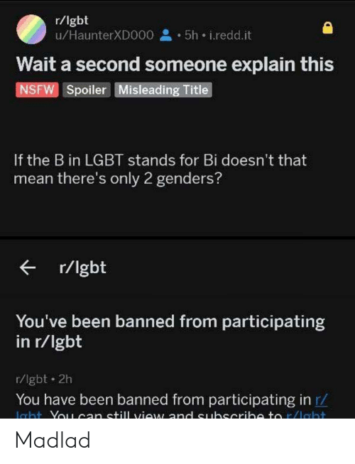 Lgbt, Nsfw, and Mean: r/lgbt  u/HaunterXDO00 5h i.redd.it  Wait a second someone explain this  NSFW Spoiler Misleading Title  If the B in LGBT stands for Bi doesn't that  mean there's only 2 genders?  r/lgbt  You've been banned from participating  in r/lgbt  r/lgbt 2h  You have been banned from participating in r/  Icht Yo1can still view and euhscrih to r/lebt Madlad
