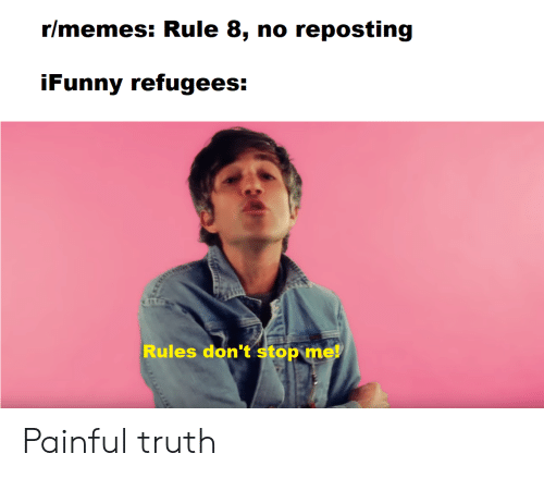 Memes, Reddit, and Truth: r/memes: Rule 8, no reposting  iFunny refugees:  Rules don't stop me! Painful truth