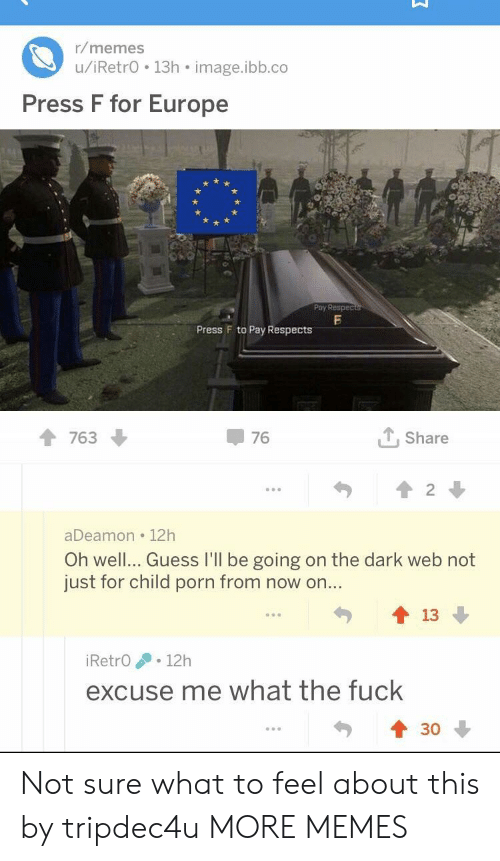 Dank, Memes, and Target: r/memes  u/iRetrO 13h image.ibb.co  Press F for Europe  Pby Respec  Press F to Pay Respects  1 763  76  个, share  aDeamon 12h  Oh well... Guess I'll be going on the dark web not  just for child porn from now on..  勺會13  90  iRetrO .12h  excuse me what the fuck  430 Not sure what to feel about this by tripdec4u MORE MEMES