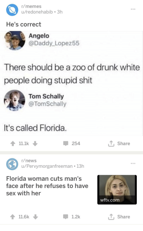 Drunk, Memes, and News: r/memes  u/redonehabib 3h  He's correct  Angelo  @Daddy Lopez55  There should be a zoo of drunk white  people doing stupid shit  Tom Schally  @TomSchally  It's called Florida  11.1k  254  T Share  r/news  u/Pervymorganfreeman 13h  Florida woman cuts man's  face after he refuses to have  sex with her  wftv.com  11.6k  1.2k  T, Share