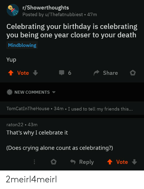 Being Alone, Birthday, and Crying: r/Showerthoughts  Posted by u/Thefatnubbiest-47m  Celebrating your birthday is celebrating  you being one year closer to your death  Mindblowing  Yup  TVote  Share  NEW COMMENTS ▼  TomCatInTheHouse 34m I used to tell my friends this...  raton22·43 m  That's why I celebrate it  (Does crying alone count as celebrating?)  Reply  Vote 2meirl4meirl