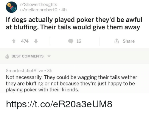 Dogs, Friends, and Memes: r/Showerthoughts  u/mellamoroberto 4h  If dogs actually played poker they'd be awful  at bluffing. Their tails would give them away  474 ↓  16  山Share  BEST COMMENTS  SmartestldiotAlive 3h  Not necessarily. They could be wagging their tails wether  they are bluffing or not because they're just happy to be  playing poker with their friends. https://t.co/eR20a3eUM8
