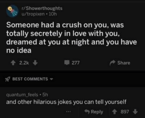 Crush, Love, and Best: r/Showerthoughts  u/tropixen 10h  Someone had a crush on you, was  totally secretely in love with you  dreamed at you at night and you have  no idea  2.2k  Share  277  BEST COMMENTS  quantum_feels 5h  and other hilarious jokes you can tell yourself  Reply 897