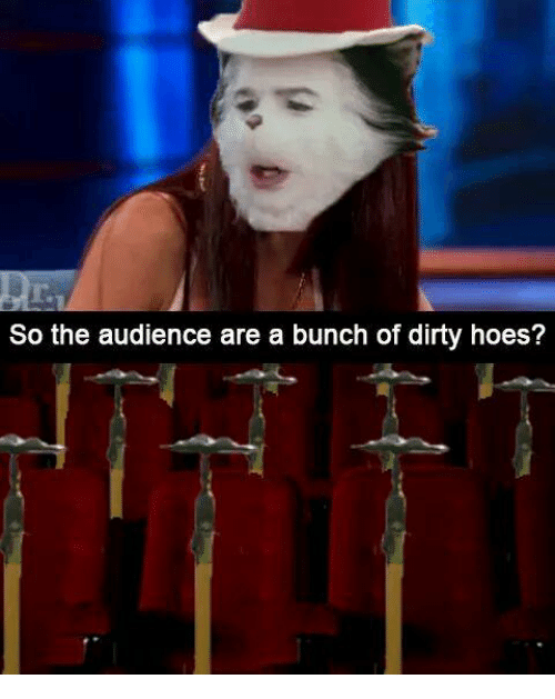 Hoes, Dirty, and Audience: r.  So the audience are a bunch of dirty hoes?