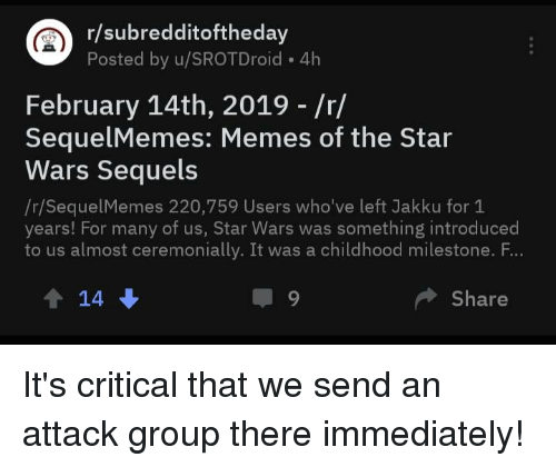 Rsubredditoftheday Posted by uSROTDroid 4h February 14th