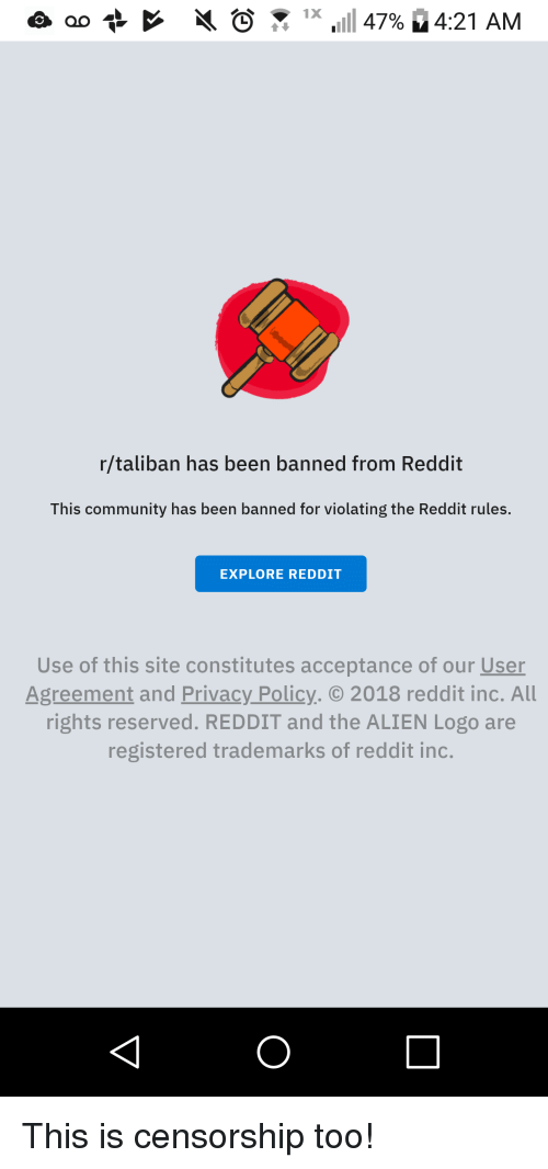 Rtaliban Has Been Banned From Reddit This Community Has Been Banned