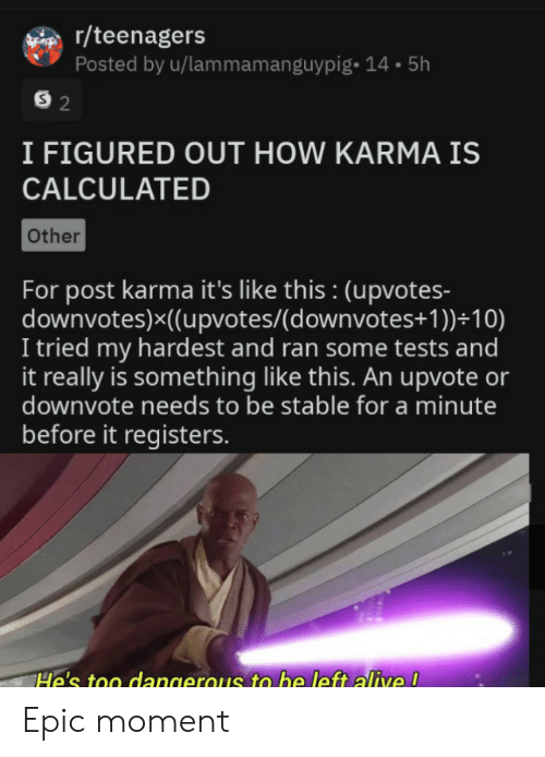 Alive, Karma, and How: r/teenagers  Posted by u/lammamanguypig- 14.5h  S 2  I FIGURED OUT HOW KARMA IS  CALCULATED  Other  For post karma it's like this : (upvotes-  downvotes)x((upvotes/(d ownvotes+ 1 ))+10)  I tried my hardest and ran some tests and  it really is something like this. An upvote or  downvote needs to be stable for a minute  before it registers.  He's too dangerous to be left alive ! Epic moment