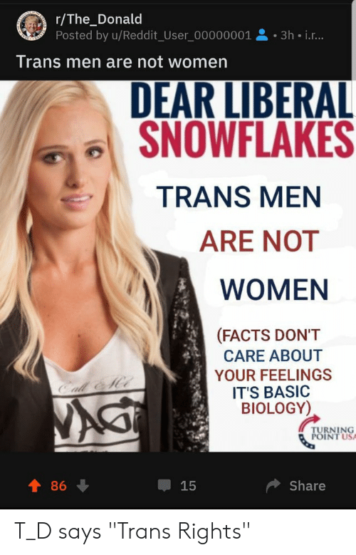 rThe_Donald Posted by uReddit_User 00000001 3h Ir Trans Men Are Not