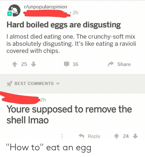 "Facepalm, Best, and How To: r/unpopularopinion  i2h  Hard boiled eggs are disgusting  I almost died eating one. The crunchy-soft mix  is absolutely disgusting. It's like eating a ravioli  covered with chips.  25  16  Share  BEST COMMENTS  2h  Youre supposed to remove the  shell Imao  24  Reply ""How to"" eat an egg"