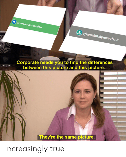 Reddit, True, and Corporate: r/unpopularopinion  r/iamatotalpieceofshit  40  Corporate needs you to find the differences  between this picture and this picture.  They're the same picture Increasingly true