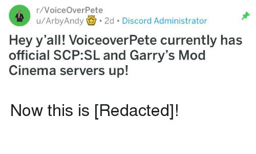 rVoiceOverPete uArbyAndy 2d Discord Administrator Hey Y'all