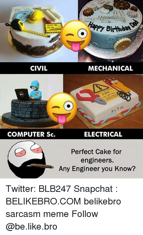 Be Like, Meme, and Memes: r1  y Birthd  rn  CIVIL  MECHANICAL  COMPUTER Sc.  ELECTRICAL  Perfect Cake for  engineers.  Any Engineer you Know? Twitter: BLB247 Snapchat : BELIKEBRO.COM belikebro sarcasm meme Follow @be.like.bro
