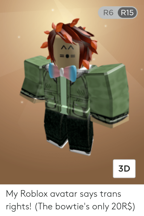 R6 R15 3d My Roblox Avatar Says Trans Rights The Bowtie S Only 20r Avatar Meme On Me Me