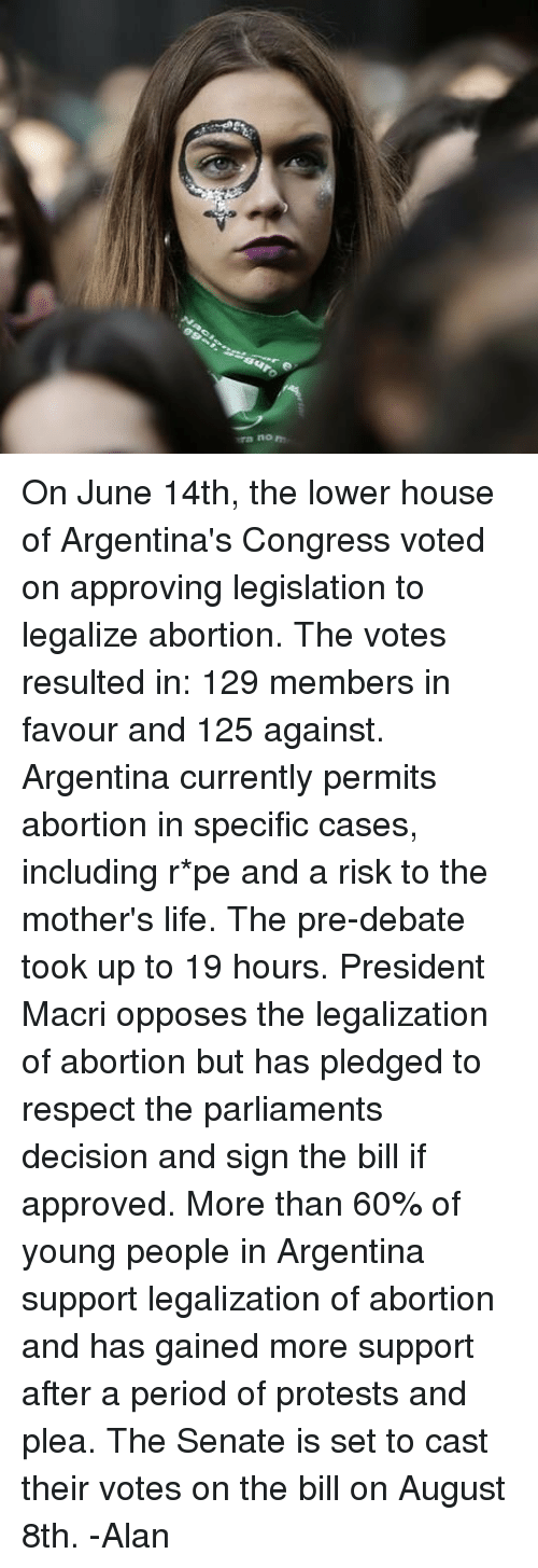 Life, Memes, and Period: ra no On June 14th, the lower house of Argentina's Congress voted on approving legislation to legalize abortion. The votes resulted in: 129 members in favour and 125 against. Argentina currently permits abortion in specific cases, including r*pe and a risk to the mother's life. The pre-debate took up to 19 hours. President Macri opposes the legalization of abortion but has pledged to respect the parliaments decision and sign the bill if approved. More than 60% of young people in Argentina support legalization of abortion and has gained more support after a period of protests and plea. The Senate is set to cast their votes on the bill on August 8th. -Alan