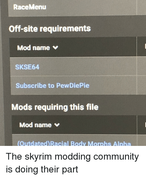 RaceMenu Off-Site Requirements Mod Name v SKSE64 Subscribe to