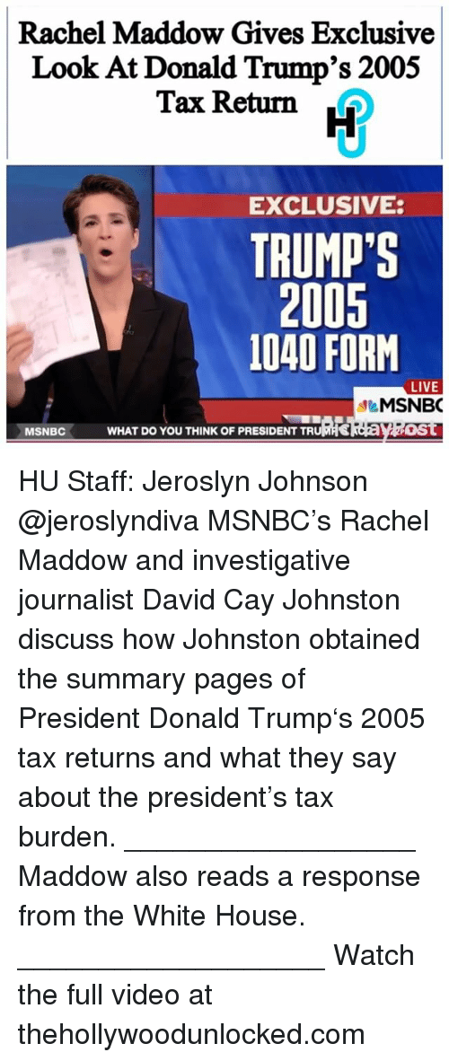 rachel maddow gives exclusive look at donald trumps 2005 tax 16318900 ✅ 25 best memes about 1040 form 1040 form memes
