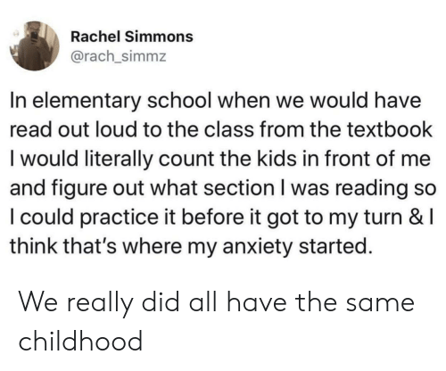 Rachel Simmons in Elementary School When We Would Have Read Out Loud