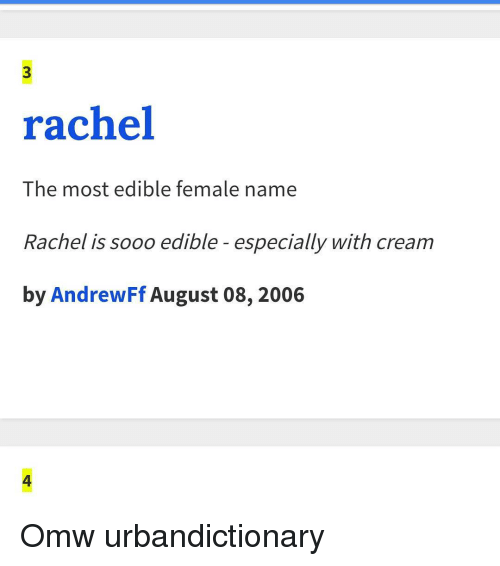 What Does Rachel Mean In The Urban Dictionary