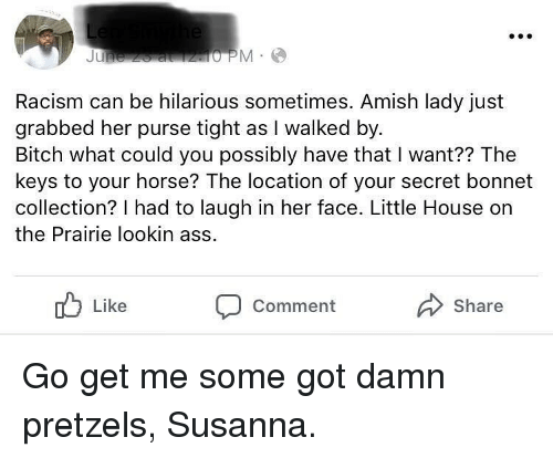 Ass, Bitch, and Funny: Racism can be hilarious sometimes. Amish lady just  grabbed her purse tight as I walked by  Bitch what could you possibly have that I want?? The  keys to your horse? The location of your secret bonnet  collection? I had to laugh in her face. Little House on  the Prairie lookin ass  Like  Share  Comment Go get me some got damn pretzels, Susanna.