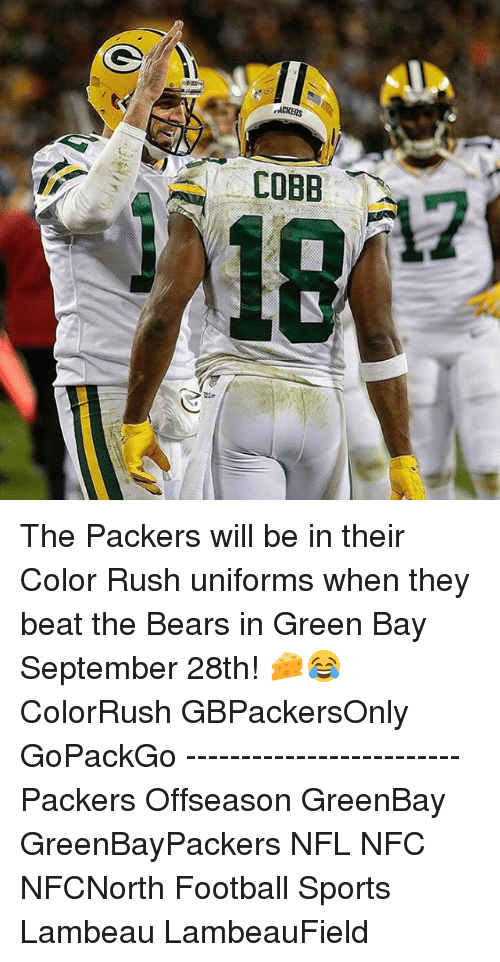 buy popular f430a b3194 rACKERS the Packers Will Be in Their Color Rush Uniforms ...