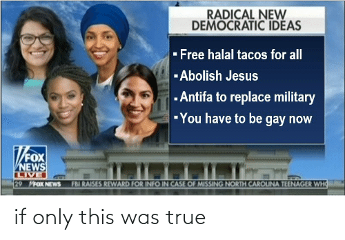 Fbi, Jesus, and News: RADICAL NEW  DEMOCRATIC IDEAS  - Free halal tacos for all  -Abolish Jesus  - Antifa to replace military  -You have to be gay now  FOX  NEWS  LIVE  29 MFOX NEWS  FBI RAISES REWARD FOR INFO IN CASE OF MISSING NORTH CAROUNA TEENAGER WHO if only this was true