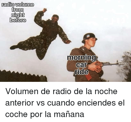 Radio, Car, and Anterior: radio volume  from  0  0  0  0  morining  car  ride Volumen de radio de la noche anterior vs cuando enciendes el coche por la mañana