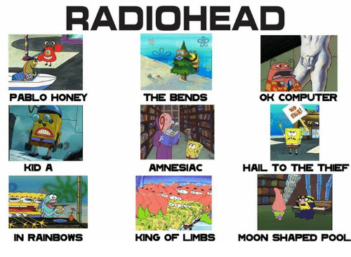 Computers, Computer, and Kids: RADIOHEAD  PABLO HONEY  THE BENDS  OK COMPUTER  AMNESIAC  KID A  HAIL TO THE THIEF  IN RAINBOWS  KING OF LIMBS  MOON SHAPED POOL