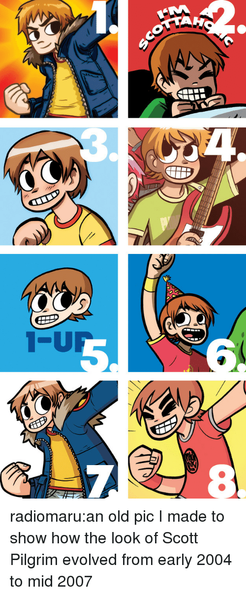 Target, Tumblr, and Blog: radiomaru:an old pic I made to show how the look of Scott Pilgrim evolved from early 2004 to mid 2007