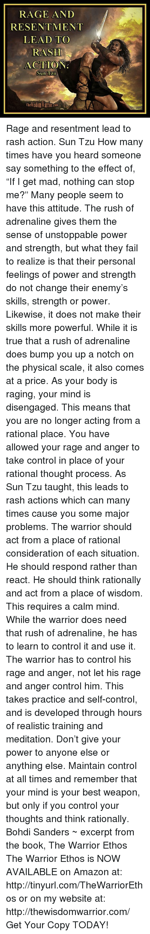 RAGE AND RESENTMENT LEAD TO RASH ACTION Sun Tzu Rage and ...